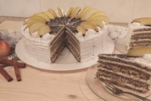 Gluténmentes Almás-mákos torta,szelet